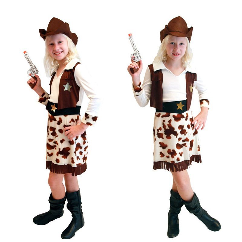 Free Shipping Children Cowgirl Dress Fancy Costumes with Hat Carnival Halloween Masquerade Party Kids Girls Cosplay Clothes