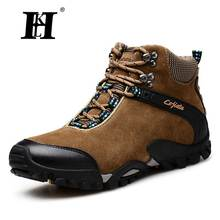 HKL Men Boots 2016 Fashion Leather Fur Boots Winter Nubuck Leather Warm Men Shoes Outdoor hiking boots Men Shoes Casual