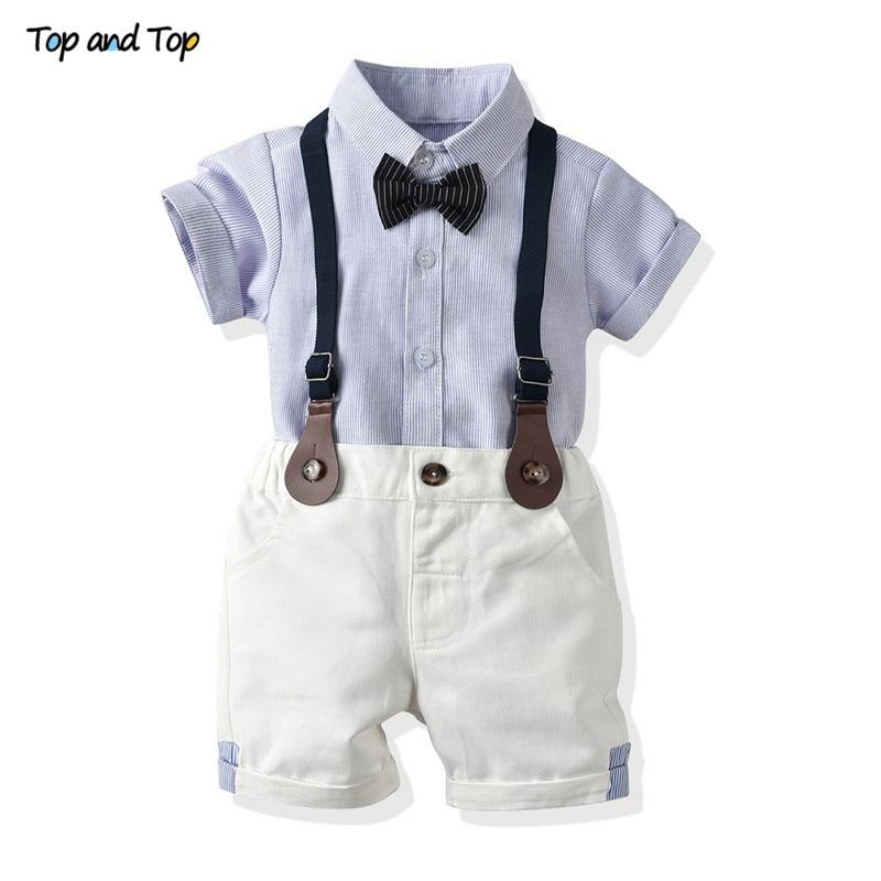 למעלה ולמעלה פעוט תינוק ילד בגדי סט קצר שרוול חולצה + ביריות מכנסיים 2PCS תלבושות יילוד ילד בגדי סט