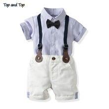 Ensemble haut et haut pour bébés garçons, chemise à manches courtes + Short à bretelles, tenue 2 pièces pour nouveau-né
