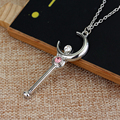 Anime Cartoon Silver Stick Con Collar Colgante De Cristal Collar de Sailor Moon Cosplay de la Navidad de la muchacha agradable regalo