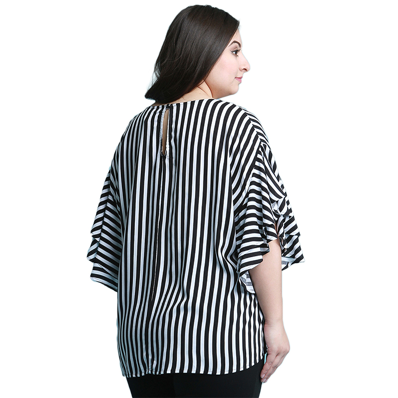 Kissmilk Plus Size Women Casual Black And White Stripe Print Half Ruffles Sleeve Tops Blouse Loose Basic O Neck Long Shirt 1