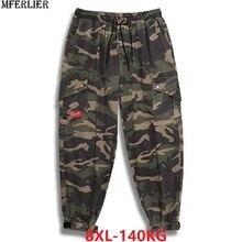Pantalones cargo de camuflaje para hombre, ropa de calle alta de talla grande, 7XL, 8XL, cintura elástica, verde militar, 50