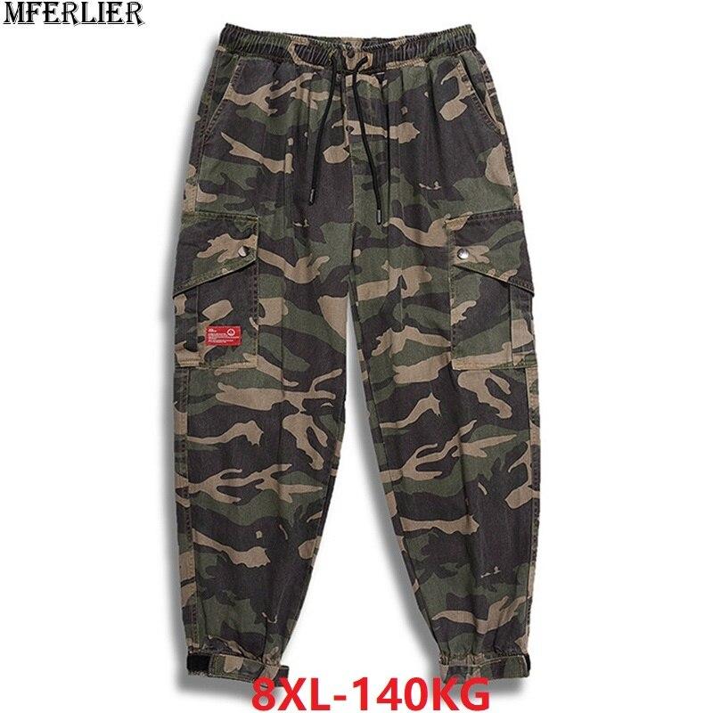Autumn Men Camouflage Pants High Street Plus Size Big 7XL 8XL Winter Mans Fashion Pants Elastic Waist Loose Pants Army Green 50
