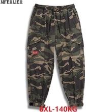 autumn men cargo Camouflage pants pockets high streetwear plus size 7XL 8XL mans fashion pants Elastic waist pants army green 50