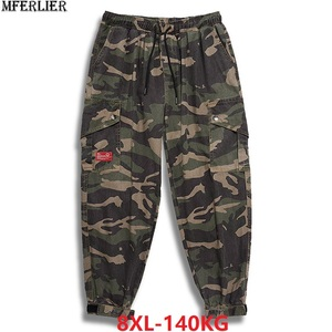 Image 1 - autumn men cargo Camouflage pants pockets high streetwear plus size 7XL 8XL mans fashion pants Elastic waist pants army green 50