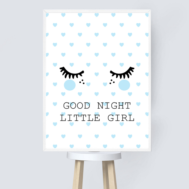 Us 333 40 Offgood Night Little Girl Quotes Wall Art Print Canvas Painting Baby Girl Posters And Prints Canvas Art Nordic Kids Bedroom Decor In