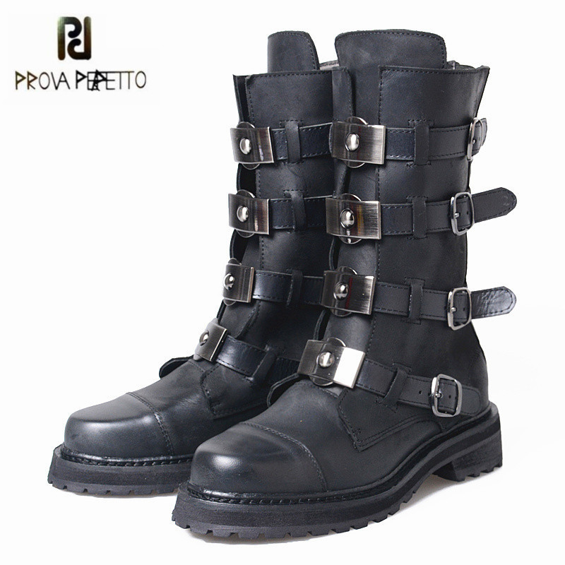 Prova Perfetto Black Punk Style Women Motorcycle Boots Straps Back Zipper Mid-calf Winter Boots Female Platform Botas Militares prova perfetto winter women warm snow boots buckle straps genuine leather round toe low heel fur boots mid calf botas mujer