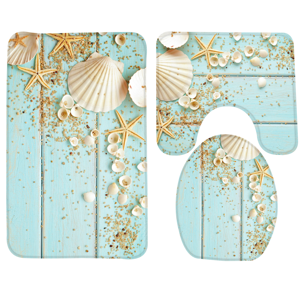 Bath Mat Set Beach Starfish Decoration