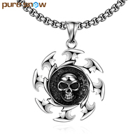 Pure Snow New Arrival Gothic Style Flame Fire Wheel Skeleton Pendant Necklace Retro Punk 316L Stainless