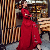 2017 High Quality Winter Woman Dress Fashion Vintage Style Long Sleeve Red Dress O Neck Corduroy