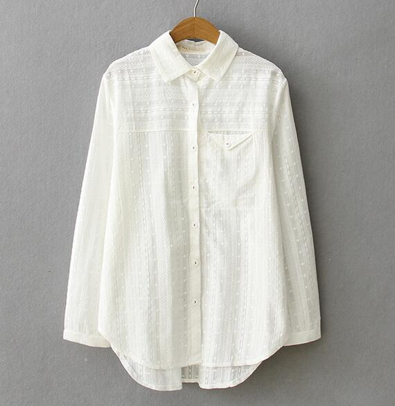 e572b4ccabdaa1 spring brief solid embroidery white shirt Turn-down collar long sleeve mori girl  blouse