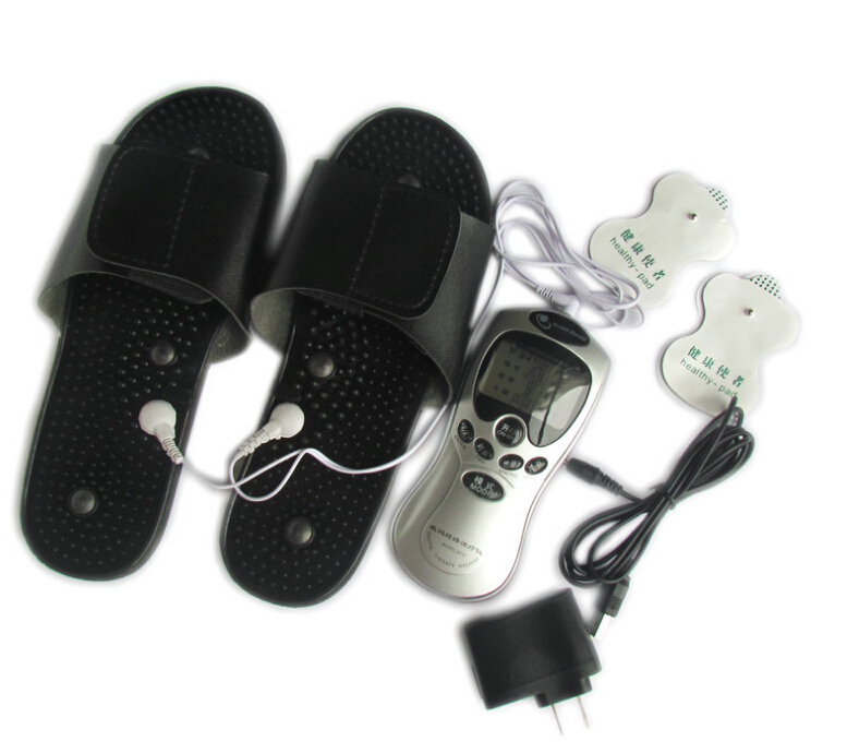 Electronic vibrating blood circulation Tens unit Acupuncture Digital Therapy Machine with foot Massage slippers/shoes electric antistress therapy rollers shiatsu kneading foot legs arms massager vibrator foot massage machine foot care device hot