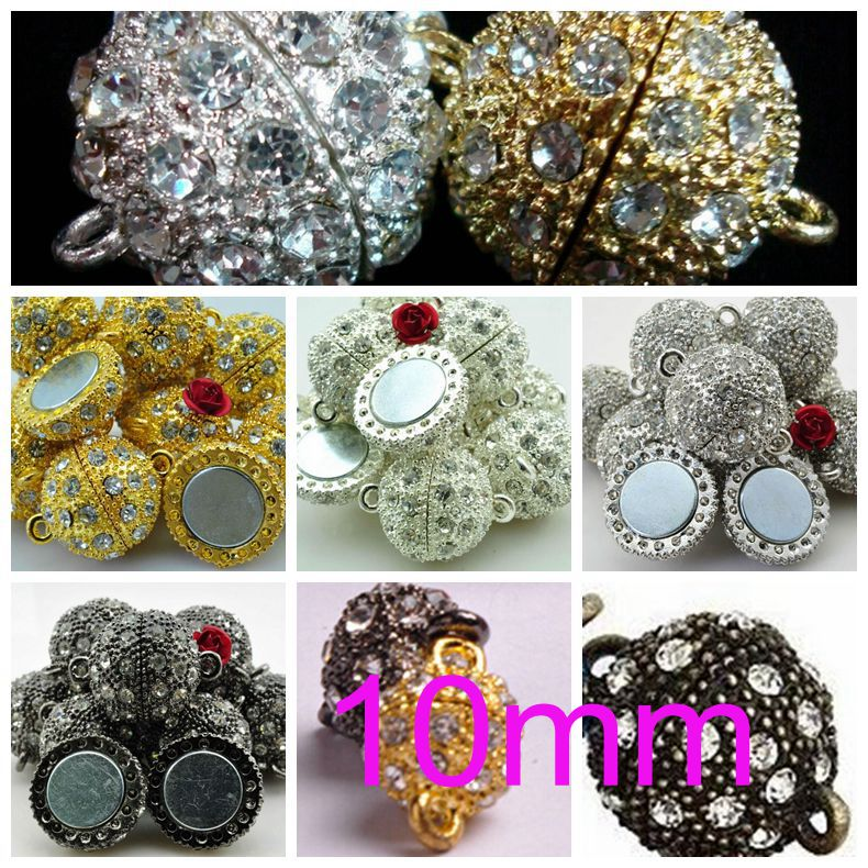 Crystal Round Ball Magnetic Clasp Beads 10mm 1//5PCS For DIY Bracelet Making
