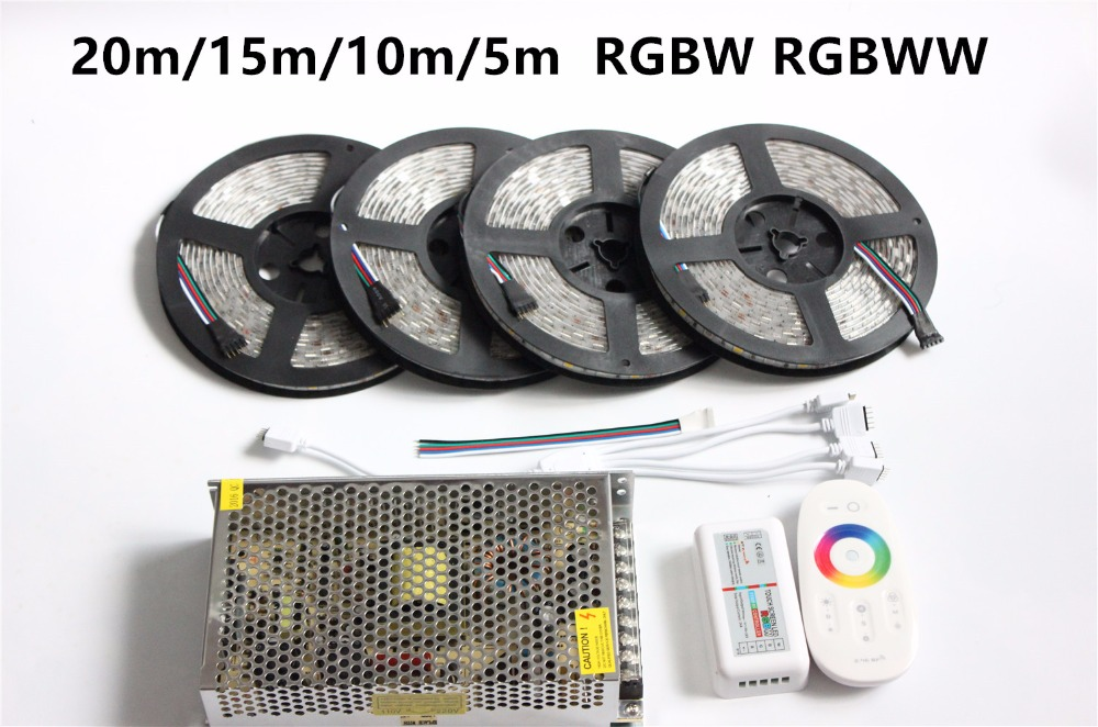 15m 20m 10m 5m RGBW RGBWW led strip Waterproof IP67/65/20 5050 tape ribbon 12V + RF Remote Controller + Power adapter Kit wifi 20m mi light led strip ribbon rgbw rgb 5050 12v waterproof 4pcs controller 4 zone rf remote power adapter free shiping
