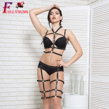 Fullyoung 2 Pcs Set Fashion Sexy Women Punk Rock Leather Harness Chest Belt Leg Waist To Bondage Straps Bra Garter