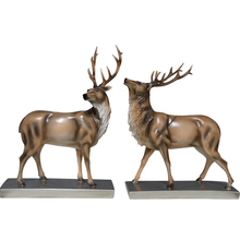 Europe Style Couple Deer Model Creative Resin Craft Miniatures Home Decoration Accessories Wedding Room Decor Gifts