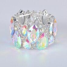 Fashion New marquise Crystal Cuff Bracelets Bangles Big Stretch Bangle for Women wedding Bridal Bracelet Jewelry Gift for Girls