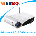 NIERBO 4 К Проектор Windows 10 Мини DLP LED Прожекторы Full 2D в 3D Home Theater 2 Г RAM 32 Г ROM 2500 Люмен Bluetooth Wi-Fi HDMI