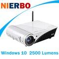 Nierbo 4 k proyector windows 10 mini led dlp proyectores full 2d a 3D 2500 Lúmenes de Cine En Casa 2G RAM 32G ROM Bluetooth Wifi HDMI