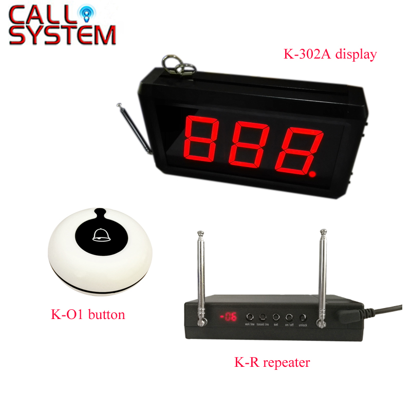 999 Channels Fast Food Restaurant Wireless Call Bell System 3 display receiver 40 call buttons 3 signaling repeater Pagers    - title=