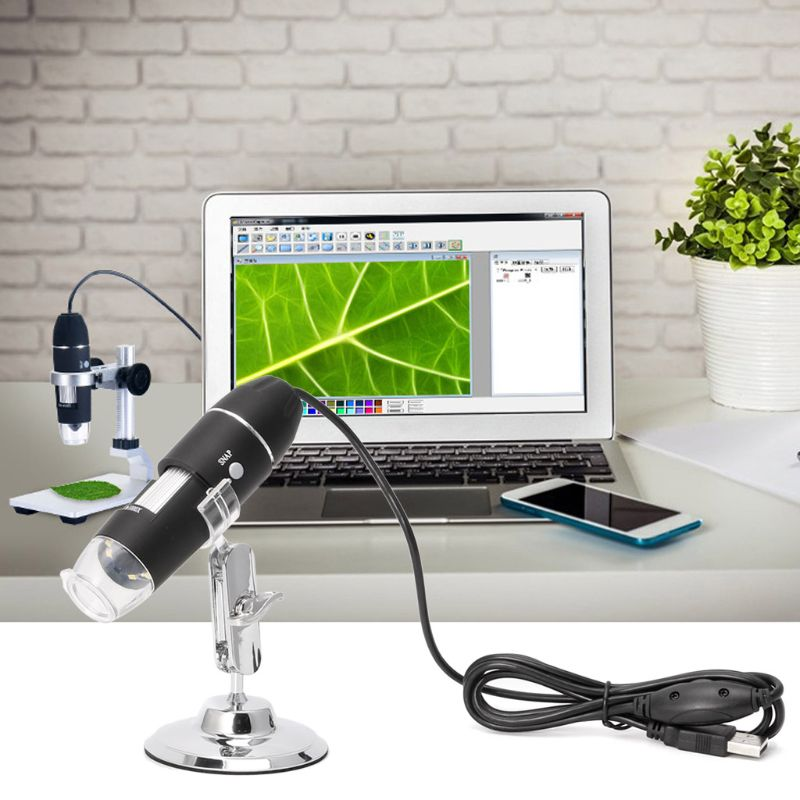 1600X USB Digital Microscope Camera Endoscope 8LED Magnifier with Metal Stand 3