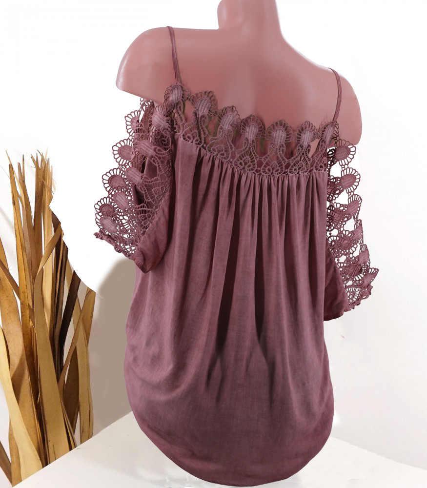 Plus rozmiar Zanzea kobiet topy Blusas bluzki Vadim darmowa wysyłka duży rozmiar styl koronki stały