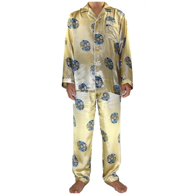 2 unids hombres chinos dorado bata de seda pijamas Set manga larga pijamas para hombre camisa y pantalón ropa de dormir Bath vestido sml XL XXL XXXL MP016