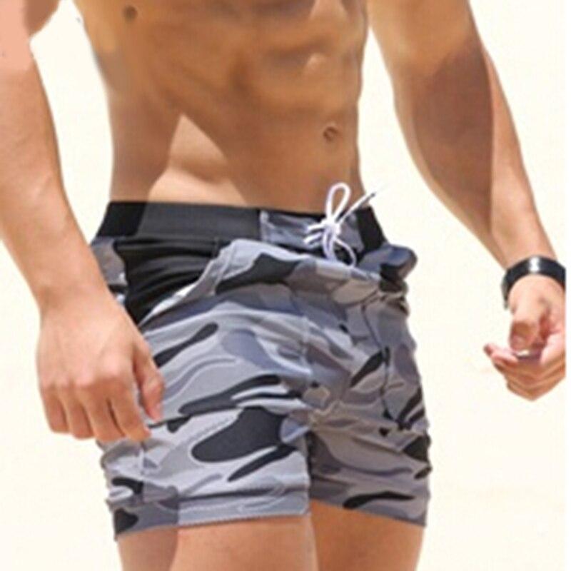 בגדי הים של גברים סקסיים בגדי ים בגד ים החוף ארוך בסיסית הסוואה איש מתאגרף מכנסי הסוואה מכנסיים קצרים לוח לגלוש גברים ספורט מים