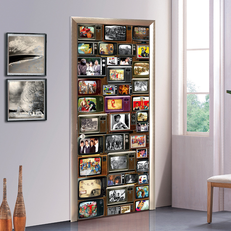 new retro tv series 3d door wallpaper wall sticker waterproof living