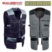 Bauskydd, высокое качество, мужская и женская уличная рабочая одежда, мужские рабочие жилеты, многофункциональный инструмент, много карманов, жилеты
