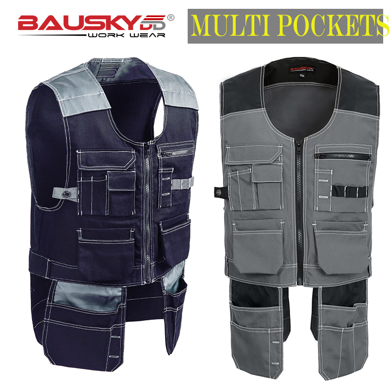 Bauskydd High quality Men male female outdoor workwear mens work vests multifunction tool Multi pockets vests free shipping