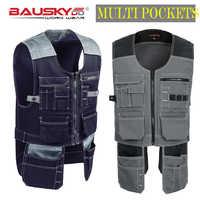 Bauskydd alta qualidade masculino feminino workwear ao ar livre dos homens coletes de trabalho multifuncional ferramenta multi bolsos coletes frete grátis