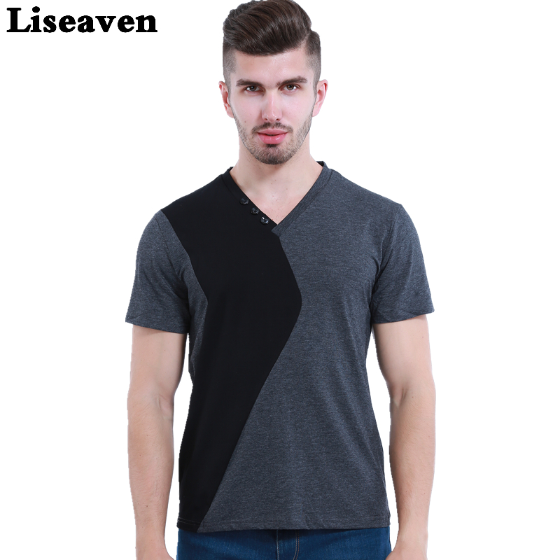 Liseaven mens v neck t shirts luxury casual slim fit for Luxury mens t shirts