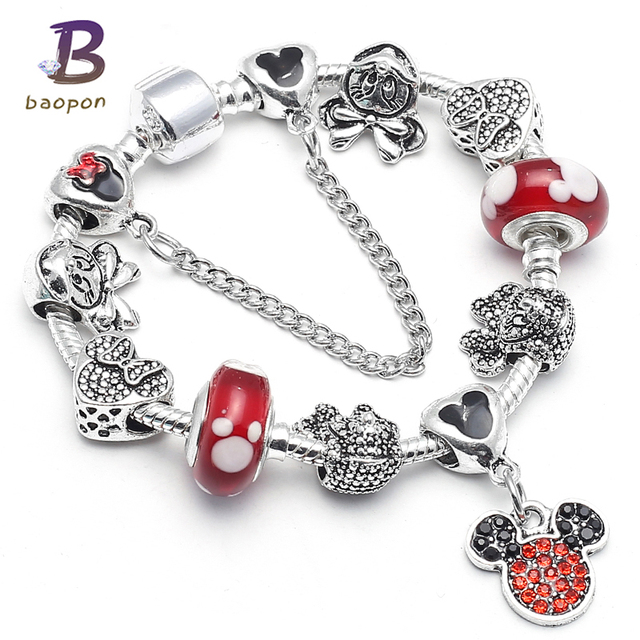Baopon Dropshipping Mickey Minnie Charm Bracelet With Nice Marano Beads Fit Original Pandora For Kids