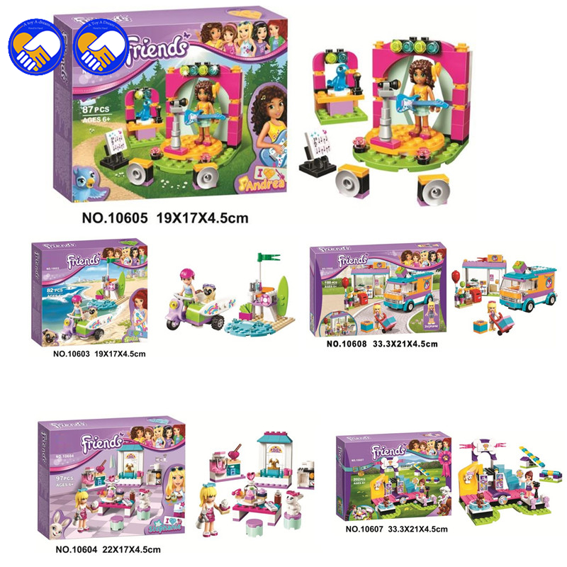 A toy A dream 2018 10603 10604 10605 Friends Andrea's Musical Duet Model Building Blocks set 87pcs Girls Bricks toys Gift a toy a dream 2017 new free shipping decool 3331 large 805pcs exploiture crane model enlighten plastic building blocks sets