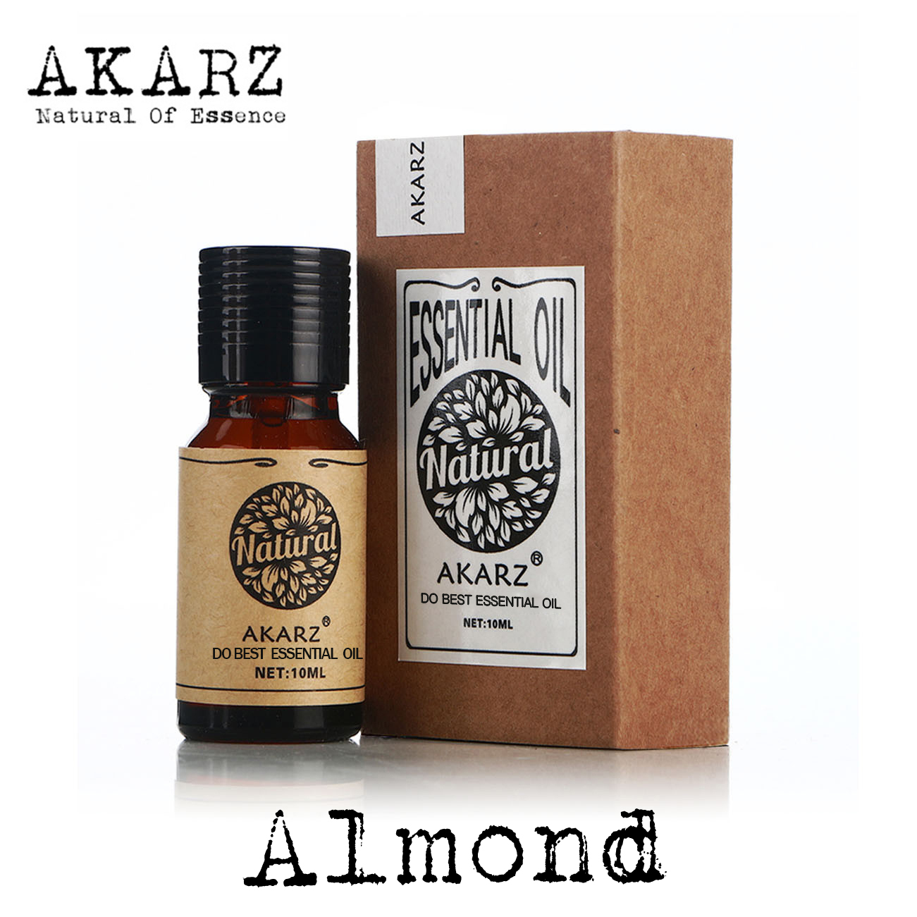 AKARZ Famous Brand Natural Almond Essential Oil Care Hair Eliminate The Corner Of The Eye Wrinkles Skin Smooth Almond Oil