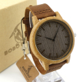 BOBO BIRD Women Bamboo Wooden Watches for Men Leather Straps Wood Dial Quartz Watch Lovers in Gift Box accept OEM Dropshipping