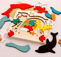 Free Shipping Kids Children Early Educational Wooden Toys Multilayer Cartoon 3D Animal Puzzle Jigsaw Baby Gifts