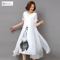 2017 New Casual Loose Summer Dresses Round Neck Printing Short Sleeves Mid Calf Dress High Quality