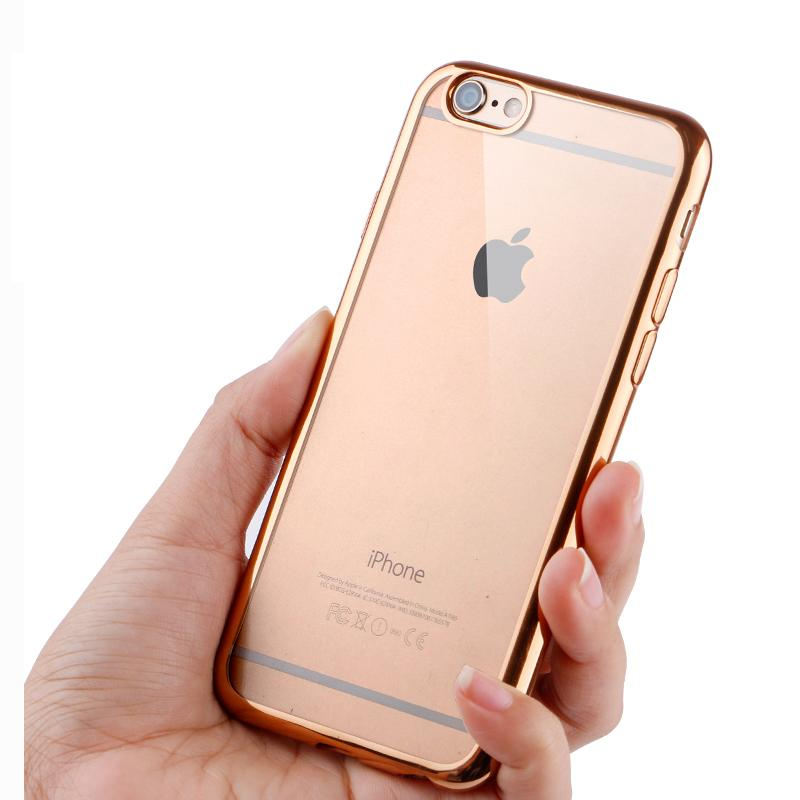 wholesale dealer c4d8c e379d US $1.97  Ultra Thin Rose Gold Plating Crystal Clear Case For Iphone 6 6s  Plus 5 5S SE Cover Capa Fundas Transparent Soft Phone Bag Covers-in Fitted  ...