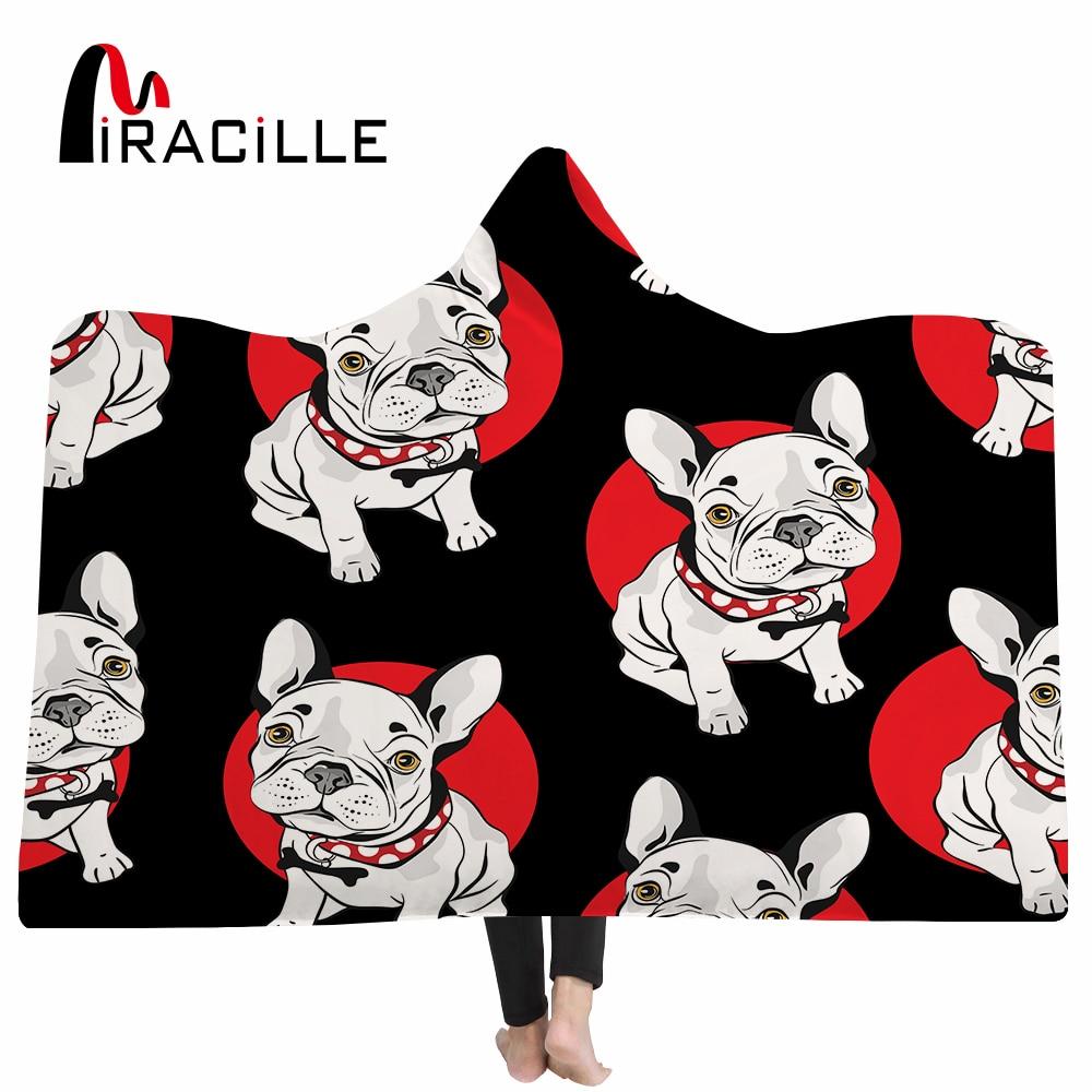 Miracille Hippie Pug Dog Hooded blanket Cartoon Pet Bulldog Duvet Cover Set for Kids Winter Warm