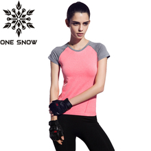 ONE SNOW Dry Quick gym t shirt compression tights women's sport t shirts Running T-Shirts sleeve t-shirts fitness women t-shirts