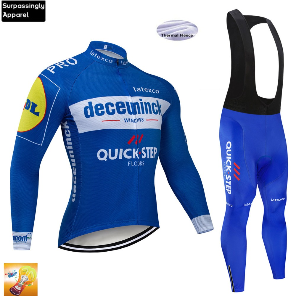 2019 Blue Quick Step Bicycle Clothing Cycling Jersey Long Sleeve Winter Thermal Fleece Set Bike Cycling Jersey Bib Pant Set 16D2019 Blue Quick Step Bicycle Clothing Cycling Jersey Long Sleeve Winter Thermal Fleece Set Bike Cycling Jersey Bib Pant Set 16D