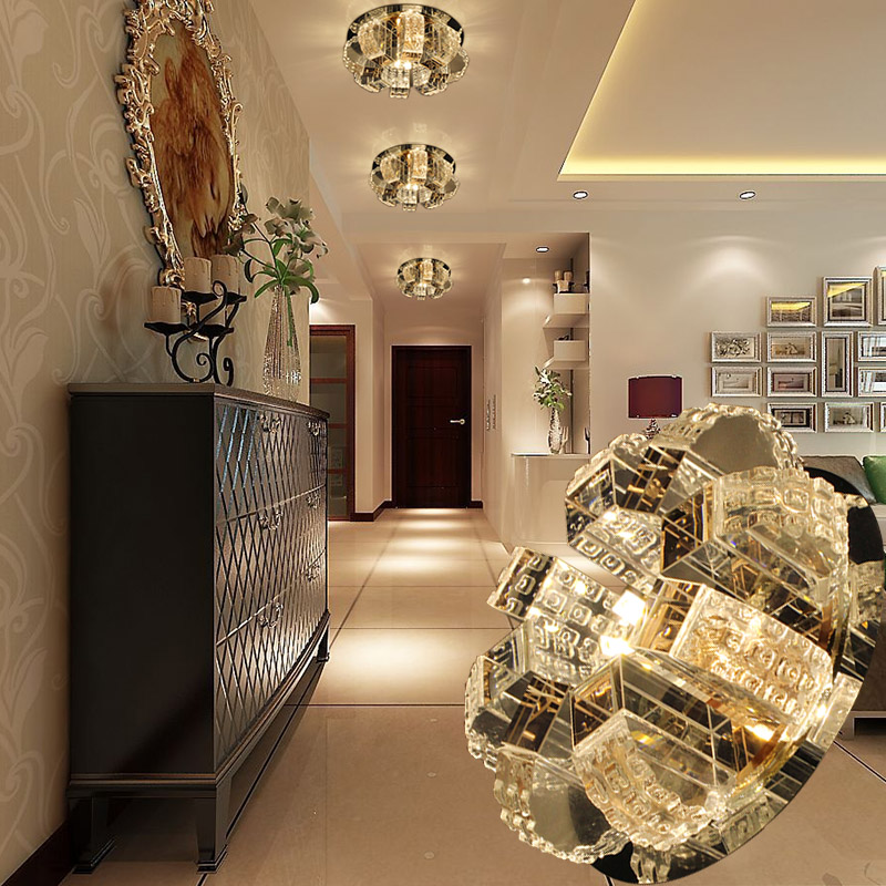LAIMAIK 5W3W AC90-260V Round Crystal Ceiling Light For Living Room Indoor Lamp Aisle Corridor Crystal LED Lighting Free Shipping