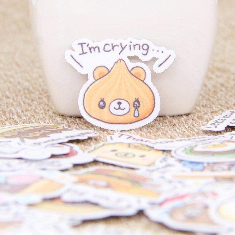 40 pcs/set English Bear Food Cute Book Scrapbooking Calendar Laptop Sticker Label Cell Phone Decoration Baby Girl Toy