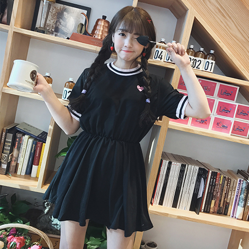 Fiodcrg Japanese Women Harajuku Short Sleeve Sweet Dress 2018 Girls Kawaii Love Embroidery Dresses Female Cute Dresses by Fiodcrg