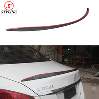 For Mercedes benz C Class W205 rear Spoiler Sedan C63 Style C63 AMG Carbon Fiber Rear spoiler trunk wing With red line 2014 UP