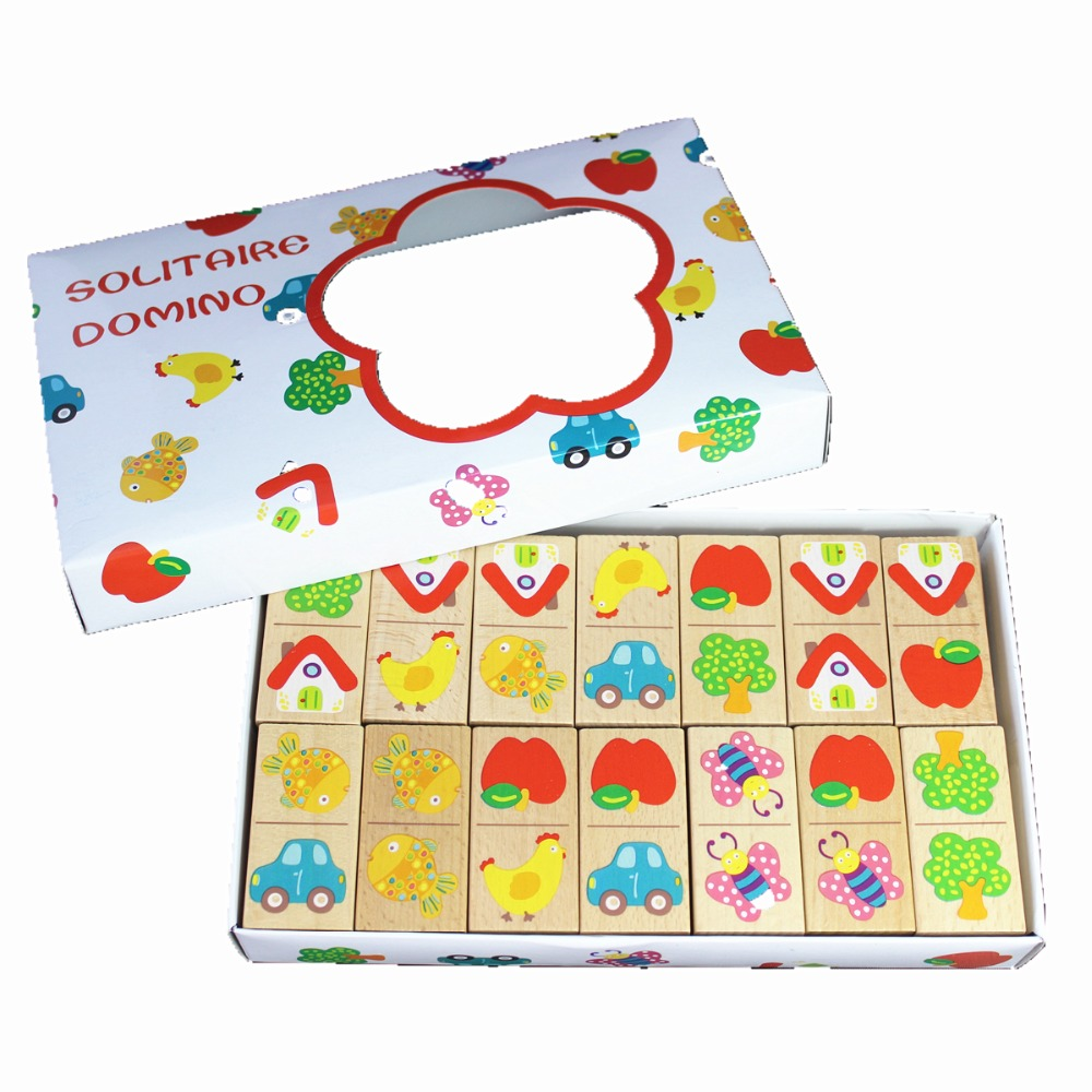 Wooden puzzle jigsaw 56pcs domino Educational Soft Montessori children intelligent creative interactive toys birthday gift 3d puzzle wooden toy jigsaw for children