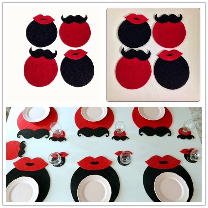 12 pcs Lips and beard Ladies and gentlemen Felt Coaster Cup mats Cartoon Pad supply fabric Party Decoration Supplies for home